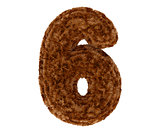 3d bushy bear fur alphabet digit six 6 symbol