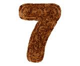 3d bushy bear fur alphabet digit seven 7 symbol