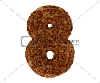 3d bushy bear fur alphabet digit eight 8 symbol