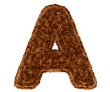 3d bushy bear fur alphabet capital letter A
