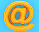 Leather yellow texture letter at email mark sign