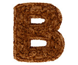 3d bushy bear fur alphabet capital letter B