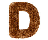 3d bushy bear fur alphabet capital letter D