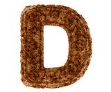 3d bushy bear fur alphabet capital letter D
