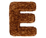 3d bushy bear fur alphabet capital letter E