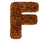 3d bushy bear fur alphabet capital letter F