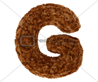 3d bushy bear fur alphabet capital letter G