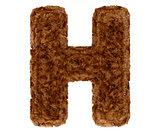 3d bushy bear fur alphabet capital letter H