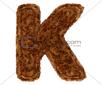 3d bushy bear fur alphabet capital letter K