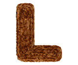 3d bushy bear fur alphabet capital letter L