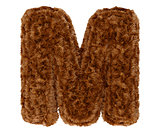 3d bushy bear fur alphabet capital letter M