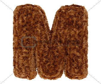3d bushy bear fur alphabet capital letter M