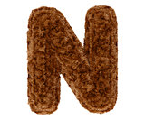 3d bushy bear fur alphabet capital letter N