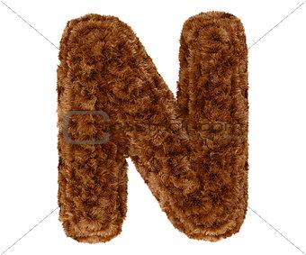 3d bushy bear fur alphabet capital letter N