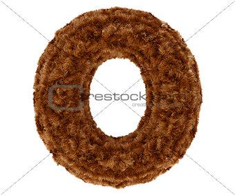 3d bushy bear fur alphabet capital letter O