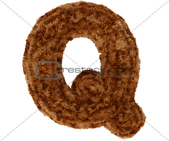 3d bushy bear fur alphabet capital letter Q