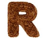 3d bushy bear fur alphabet capital letter R