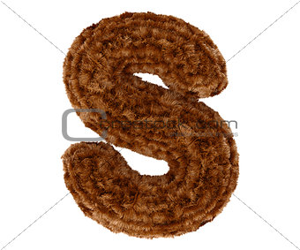 3d bushy bear fur alphabet capital letter S