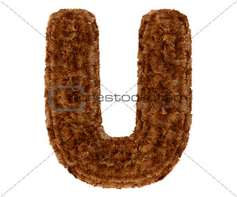 3d bushy bear fur alphabet capital letter U