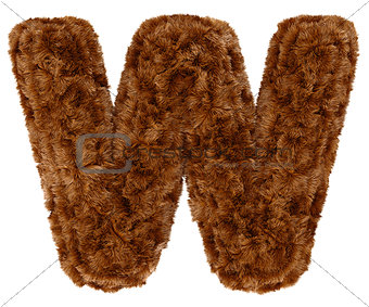 3d bushy bear fur alphabet capital letter W