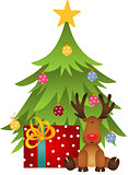 Cute reindeer with Christmas tree and gift