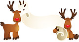 Cute reindeers with parchment