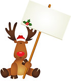 Reindeer with signboard