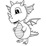 Cute Black and White Cartoon Baby Dragon