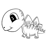 Cute Black and White Cartoon  Baby Stegosaurus  Dinosaur