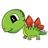 Cute Cartoon  Baby Stegosaurus  Dinosaur
