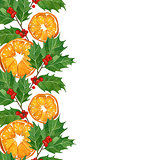 christmas card in watercolor technique. holly branches and oranges.