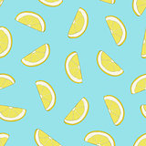 Vector seamless pattern with hand drawn lemon slices.