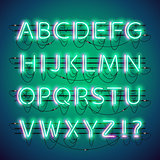 Glowing Double Neon Green Alphabet
