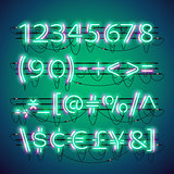 Glowing Double Neon Green Numbers
