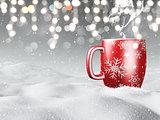 3D mug nestled in snow