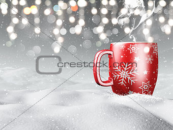 3D mug nestled in snow