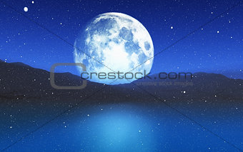 3D snowy landscape with moon