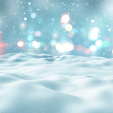 3D snowy landscape with bokeh lights