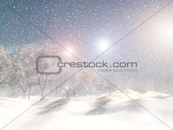 3D snowy winter landscaper