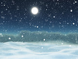 3D winter snow landscape