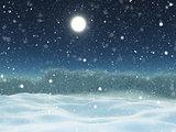 3D winter snow landscape