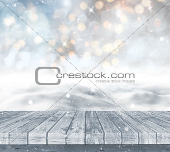 3D snowy landscape with wooden decking