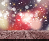 3D wooden table looking out to a defocussed Christmas bokeh ligh