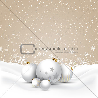Christmas baubles in snow
