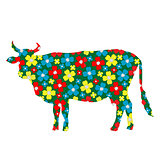 Cow silhouette with floral pattern