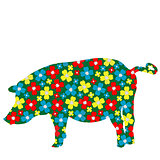 Pig silhouette with floral pattern