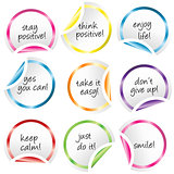 Round stickers with curled corners with positive messages