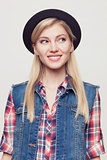 Closeup studio portrait of hipster young woman
