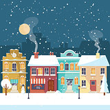 Snowy Christmas night in the cozy town greeting card