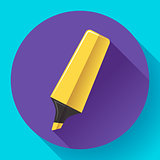 Marker icon. Highlighter symbol. Flat Vector illustration